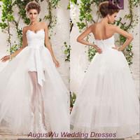 AWL30340 Lace V-Neck Long Bow Tulle White Short Front Long Back China Wedding Dress 2014 Custom Size Custom Color