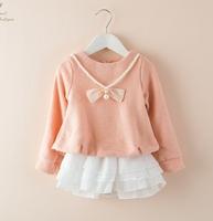 5pcs/lot New 2014 baby girls fashion cute casual bow princess dress children kids autumn clothes C022