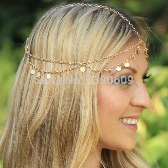 Women Fashion Metal Rhinestone Head Chain Jewelry Headband Head Piece Hair band(China (Mainland))