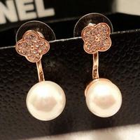 YTEH42 Korean Unique Pearl Pendant Dangle Earrings Jewelry 14K Real Gold Plated Crystal Flower Earrings For Women Free Ship