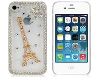 Eiffel Tower Design Rhinestones Decorated Crystal Plastic Case for iPhone 4S/4     LIP-5311D