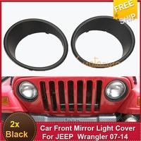 2x  Rugged Headlight trim bezels Car Front Mirror Light Cover  Black Free Shipping