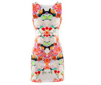 New 2014 Women Fashion Club Dresses Flower Print Sleeveless Retro Sexy Chiffon Dress Tank Mini atacado roupas femininas