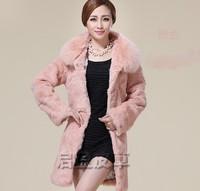 new 2014 winter High quality warm 100% Rabbit Fur coat + Fox Fur collar fashion Casual female clothes women long clothing 6995