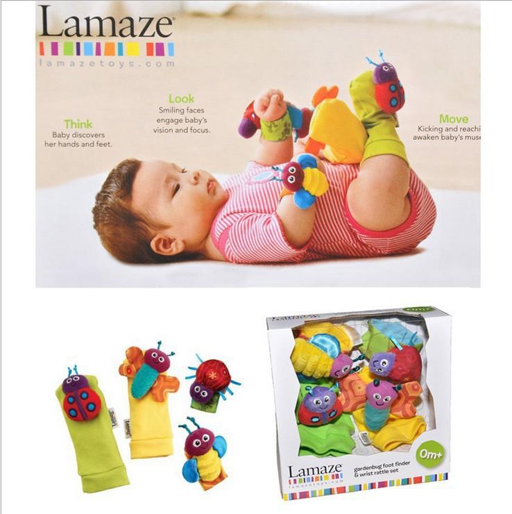 Grátis frete 0-4month infantil bebés meninos meninas brinquedos wrist chocalhos relógios + meias um terno caixa de cor(China (Mainland))
