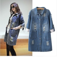 Fashion New Autumn Designer Women Denim Trench Holes Ripped Single-Breasted Big Pocket Straight Long Overcoat Outwear