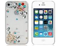 Plum Blossom Pattern Design Rhinestones Decorated Protective Plastic Case for iPhone 4S/4     LIP-5312D