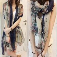 2014 New women scarf for 4 seasons silk scarves cashew flower chiffon Bohemia large scarf 180*110cm air conditioner cape