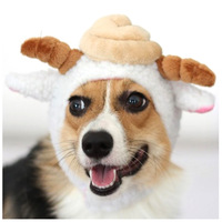 Freefisher Sheep Costume Hat for Dogs Poo Hat White