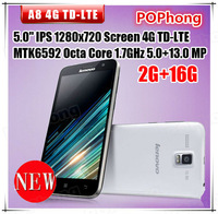 Lenovo A8 A806 4G FDD LTE WCDMA Android 4.4 Phones 5.0 ''MTK6592 Octa Core 1.7GHz 2GB RAM Camera 13MP