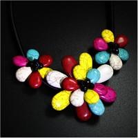 New Arrival Cheap Korea Style Girl Women Mixed Color 3 Flower Charm Pendant Choker Necklace