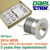 Daei ETRN Brand 2014 new 3W x 6pcs 18W MINI LED Downlights LED Cabinet Light LED Spot light 4set/lot Free Shipping