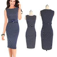 Hot Selling Women Chic Dot Sleeveless Slash-Neck Slimming Sashes Casual Knee-Length Dress Elegant Party Pencil Dresses Plus Size