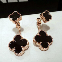YTEH45 Designer Fashion Women 2 Styles Flower Pendant Dangle Earrings 14K Real Gold Lady OL Party Earring Jewelry Free Shipping