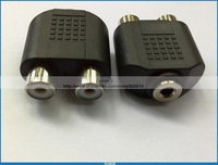 20 PCS/lot  3.5mm Female  jack to 2 Female Y  style  Dual RCA Audio Splitter Adapter FROM RUINOR FREE SHIPPING