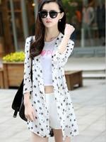 Cheap 2014 New women blouse Casual Women Sunscreen Cardigan Protection 3/4 Sleeve Chiffon Cardigan Coat Tops Free ShippingJC1071
