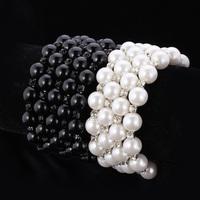 Fashion Jewelry Beautiful Elegant Bracelet Bangle Simulated Black Pearls Twisted Chain Bracelet Jewelry Gift For Women MGC H294