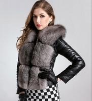 new 2014 winter High quality 100% Genuine leather sheepskin Silver fox fur Down coat women vest clothing female jacket 6997