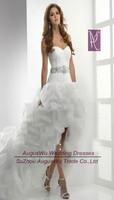 AWL30341 Sweetheart Organza Sashes Short Front Long Back Lace-Up China Wedding Dress Bridal Dress 2014 Custom Size Custom Color
