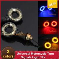 Universal 2x Hollow Round Shaped MotorcycleTurn Signals Indicator Light 12V Amber/Blue/Red12 *LED Lights  Sport Bike Blinker