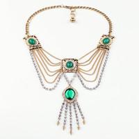 2014 New Style Luxury Statement Exaggerated Multilevel Tassel Green Stone Long Necklace & Pendants Fashion Big Brand Jewelry