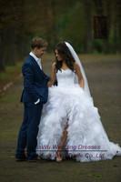 AWL30343 Luxury Sweetheart Tulle Beaded White Short Front Long Back China Wedding Dress 2014 Custom Size Custom Color