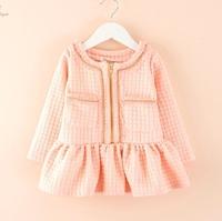 4pcs/lot New 2014 baby boys and girls fashion cute casual plaid pocket princess dress children kids autumn clothes C022