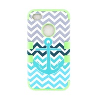 2014 New Hybrid Silicone Rubber Impact Armor Anchor Chevron Waves Hard Case Cover For iPhone 4 4S Good Quality Free shipping