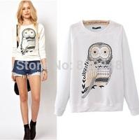 2014 Autumn Casual Fashion Women Clothing Cute Owl Animal Print Sweatshirt Beading Hoodies Tracksuits for Women Hoody T-shirt