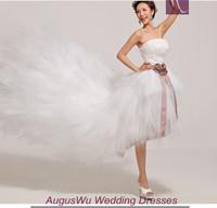 AWL30344 Graceful Strapless Sashes Tulle Lace-Up Short Front Long Back China Wedding Dress 2014 Custom Size Custom Color