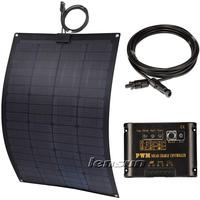 UK STOCK! 60W Fiberglass Semi Flexible 12V Solar Panel Full Kit, 10A Regulator,10m MC4 Cable, factory directly wholesale
