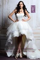 AWL30345 Elegant Lace Zipper Tulle Sweetheart White Short Front Long Back China Wedding Dress 2014 Custom Size Custom Color