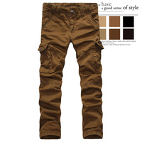 Men fashion Cargo Pants 100% Cotton multi-pocket Overalls male long trousers straight Casual pants Army cargo pants plus size