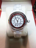 New Lady Brand White Ceramic Watch Women Dress Colorful CZ Diamond Wristwatches Valentine's day/Christmas gifts