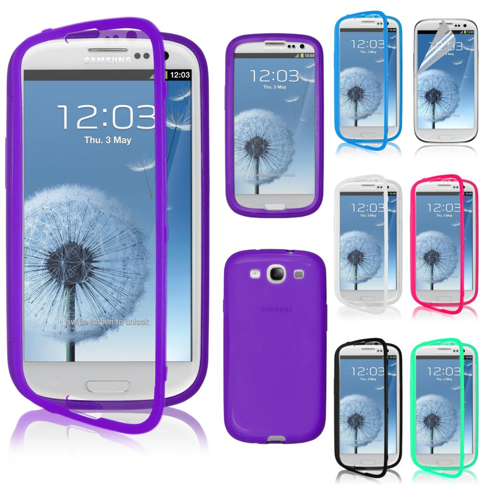 TPU Wrap Up Case Cover w/ Built-In Screen Protector Phone Cases For Samsung Galaxy S3 i9300(China (Mainland))