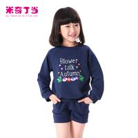 NEW arrival!!!2014 children suit 2pcs long sleeve blouse+short pants #1414043 autumn girl clothing set kids