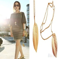Great Fashion Gold Color Long Chain Thick Leaf Pendant Charm Long Necklace