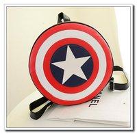 Hot Sale Women Leather Handbags New 2014 Model Captain America Leather Bags Portable Chain Cross-Body Women Backpack AK366
