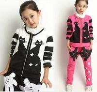 Kids Tracksuit Girls Clothing Sets 2014 Autumn New Arrival Children Sport Clothing Set Coat Pants Conjunto De Roupa Cardigans