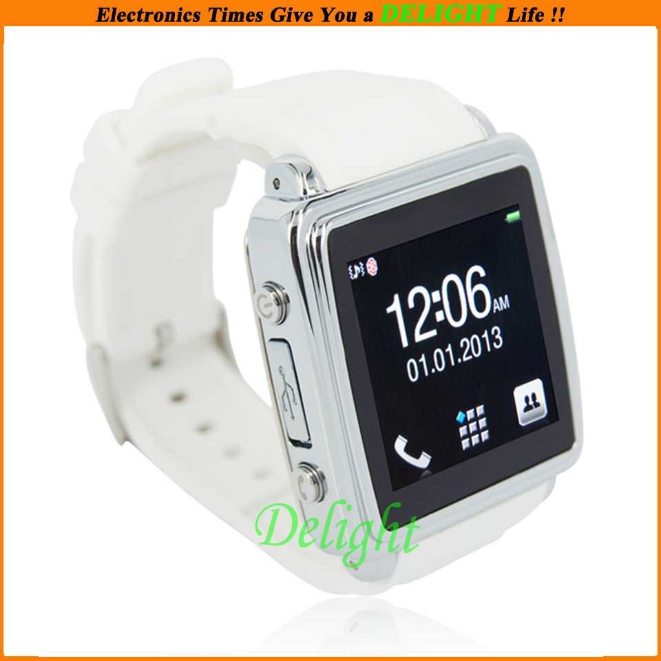 Free Shipping New Fashion Casual White Unlocked Touch Wrist Watch Phone Anti-Lost Bluetooth Mobile Phone Watch Wrist (DL-W024)(China (Mainland))
