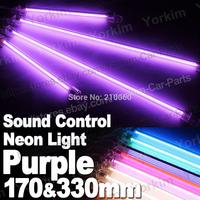 Free shipping HOT 4pcs Purple DC12V DIY power interface Car Sound Control CCFL Neon Tube Interior UnderCar Underbody Light
