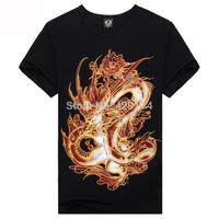 Punk High Quality Cotton the Chinese dragon T Shirt  Men's T Shirt Rock Style 3 d T Shirt man