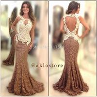 2014 New Design Vestidos De Fiesta Mermaid Open Nude Back Long Applique Lace Formal Evening Dress Women Gown Free Shipping WL237