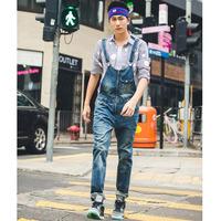 Men's fashion zipper denim overalls Male vintage jumpsuits Korean style Jeans Pants Free shipping