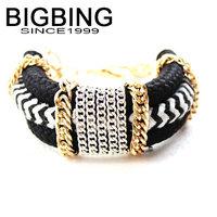 BigBing jewelry Fashion black handmade chain Bracelet fashion jewelry good quality nickel free G388