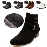 Super Fashion casual men winter warm ankle boots heels pointed toe Martin Boots with fur Men Leather Boots Shoes men footwear