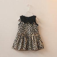 2014 Autumn Baby Girl Leopard tank Dress girls's Leopard Print pleated woolen Tank dress for Birthday&Party