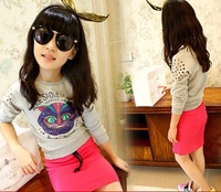 wholesale(5pcs/lot)- child  girl  cat hollow long sleeve shirts