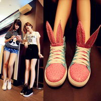 2014 fashion rabbit shoes high sweet casual soft leather shoes star