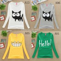 [Amy]  Hot sale!!!2014 New Design Casual Women Cotton T Shirt Autumn Female Tops  Long sleeve Women's t-shirts Free shipping